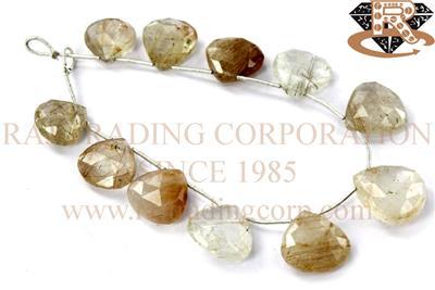 Golden Rutile Concave Cut Heart Shape Beads Golden Rutile Heart Shape Beads